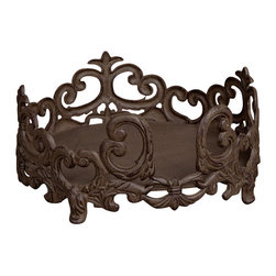 """12""""D Dinner Plate Holder - Dinner Plate Holder, Brown Metal, holds 11in Dinner Plate, 12in Dia, Care: Metal, hand wash in mild soap; dry with a soft cloth"""