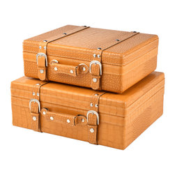 "Traders and Company - Faux Crocodile Skin Suitcase/Valise, Set of 2, Lg = 17.25""Lx13.5""Wx6.25""H - European-inspired faux crocodile skin trunks, trays, boxes and carry-alls. Reminiscient of early 20th century railway fashion; bright and classic looking pieces warm and enliven a space while providing functional storage and stylish display. Alternate shapes & styles sold separately. Dimensions: Lg = 17.25""Lx13.5""Wx6.25""H, Sm = 15""Lx15""Wx5""H"