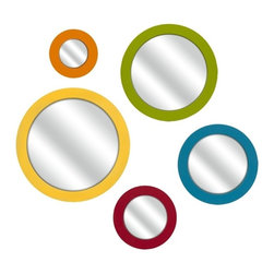 """IMAX CORPORATION - Emlyn Round Bright Color Wall Mirrors - Set of 5 - These brightly colored round mirrors are a lively addition to your wall. Perfectly at home in a tween or child's room or in a bright retro decor, you are sure to love them. Set of 5. Set of 5 in various sizes measuring around 16.75""""L x 16.5""""W x 14""""H each. Shop home furnishings, decor, and accessories from Posh Urban Furnishings. Beautiful, stylish furniture and decor that will brighten your home instantly. Shop modern, traditional, vintage, and world designs."""