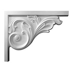 """Ekena Millwork - 8 3/4""""W x 7 5/8""""H x 5/8""""D Bremen Acanthus Stair Bracket, Right - 8 3/4""""W x 7 5/8""""H x 5/8""""D Bremen Acanthus Stair Bracket, Right. With the beauty of original and historical styles, decorative stair brackets add the finishing touch to stair systems. Manufactured from a high density urethane foam, they hold the same type of density and detail as traditional plaster stair bracket products. They come factory primed and can be easily installed using standard finishing nails and/or polyurethane construction adhesive."""