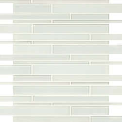 Artistic Tile Opera Glass Collection - Wolfgang White Stilato Linear Mosaic - Versatile, contemporary and timeless: Opera Glass offers ultimate design flexibility. Clear float glass, with color applied to the back, in large and small formats, full spectrum of colors, satin and gloss finishes, and wide selection of shapes allow for endless pairing possibilities. Its versatility is unrivaled. Modern and classic, mysterious and inviting, Opera Glass is fresh and elegant.