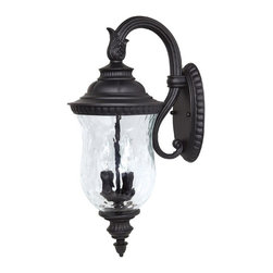 Capital Lighting - Capital Lighting 9782BK Ashford Outdoor Wall Light - Traditional Outdoor Wall Light in Black with Hammered glass from the Ashford Collection by Capital Lighting.