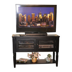 None - Whitaker Furniture Nantucket 48-inch Entertainment Cart - Keep your entertainment equipment in this specially designed Whitaker Furniture Nantucket cart that features shelves and glass cabinets for hosting small electronics and a top surface that accommodates TVs up to 48 inches.