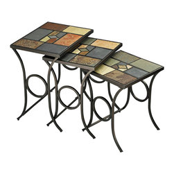 Hillsdale Furniture - Nesting Tables w Mosaic Slate Tops - 3/Set - You'll discover so many uses for nesting tables and these are stylish no matter where they're placed. Frames feature decorative curved legs with circle insets. Tops are a wonderful mosaic of geometric shapes and colored slate. Set of three in graduated sizes. * For residential use. Black gold finish with slate mosaic design. Ship in sets of three. Some assembly may be required. Large: 20.75 in. W x 24.5 in. H x 16 in. D. Medium: 18.5 in. W x 22.5 in. H x 16 in. D. Small: 16 in. W x 20.5 in. H x 16 in. D