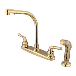 Kingston Brass - 8in. High Arch Kitchen Faucet With Sprayer - This double handle kitchen faucet features an 8in. centerset setup and a goose neck spout that rotates 360 degrees for accessibility and convenience. The handles possess a 1/4-turn on/off mechanism for water volume and temperature control; also includes a 2.2 GPM (8.3 LPM) 60 PSI max rate. The faucet includes a Duraseal washerless cartridge and a removeable aerator for water conservation. The body of the faucet is fabricated in solid brass for durability and reliance. We also provide an assortment of different finishes for stain, scratch and chipping resistance. A 10-year limited warranty is provided to the original customer. Non-metallic sprayer included.