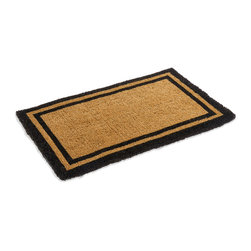 """Kempf - Classic Black Bordered Coco Mat in variety of Sizes, 30"""" X 48"""" - Thick natural coco mat, with a classic black border, made of heavy duty coco fibers tightly woven with a natural woven backing . Easy to clean by shaking and vacuuming. Traps dirt and the rough coco fibers give good scrapping action to scrape the dirt of shoes. Bio degradable. Imprinted border stenciled with vegetable dyes"""
