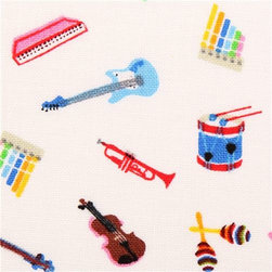 white mini music instrument fabric by Timeless Treasures USA - retro fabric with little piano, guitar, violin, trumpet, drums etc.