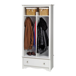 Prepac - Prepac White 1-Drawer Locker (Double Wide) - Give your entryway, foyer or mudroom some much-needed storage with the entryway organizer. Keep your coats, jackets and sweaters neatly stored in the two divided hanging areas, and tuck away gloves, hats and scarves in the single drawer underneath. For everything else, There's the divided top shelf, the perfect space for school supplies, hats and other everyday items. This organizer is an indispensable piece in any busy home.