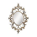 Uttermost - Ameno Antique Gold Mirror - This magical metal mirror is the perfect balance of art and function. The ornate metal scroll work comes in lustrous, antique, golden champagne and the beveled oval mirror is large enough for your bathroom vanity or hallway. Or hang it horizontally over the fireplace for a dramatic accent.