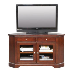 Winners Only - Topaz Corner TV Console - Two drawers. Made of hardwood with cherry veneers. 55 in. W x 21 in. D x 32 in. H (160 lbs.)