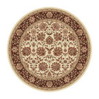 Tayse Rugs - Elegance Beige, Red and Brown Round: 7 Ft. 10 In. Rug - - Classic design that can be used with transitional or traditional d�cor. Wider, contrasting border offers a distinct appeal. Timeless hues of ivory, brown and gold. Made of soft, easy to clean polypropylene. Vacuum and spot clean.  - Square Footage: 61  - Pattern: Floral  - Pile Height: 0.39-Inch Tayse Rugs - 5332  Ivory  8 Round