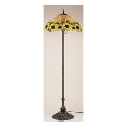 """Meyda Tiffany - 63""""H Wicker Sunflower Floor Lamp - A woven Amber wicker basket brimming with dew kissed Country Brown eyed Sun Yellow sunflowers, crowned with Bronzed Green leaves make this Meyda Tiffany original stained glass shade a true charmer. With Mahogany Bronze finished lamp base, this handcrafted floor lamp will add a touch of country to any room in your home."""