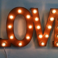 Rusted Recycled Metal Vintage inspired LOVE Wedding Lighted Marquee Sign