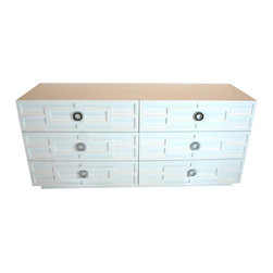 St. Tropez Dresser in White - High gloss white finish with intricate molding trim and exotic looking chrome octagonal hardware... and tons of functional storage too!