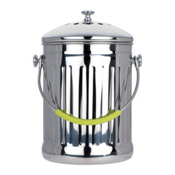 Miu France - MIU France Stainless Steel Compost Pail with Charcoal Filter - With this kitchen compost pail,you'll have a stylish and convenient place to store and transport your compost. This pail has a sturdy handle to carry the contents around safely,and it has a charcoal filter to prevent the odors from spreading.