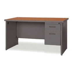 Marvel Office Furniture - Pronto Contemporary Single Pedestal Office Computer Desk - The Pronto collection offers exceptional office furniture at great prices. This contemporary single pedestal office desk provides the best in durability with melamine laminate tops featuring radius edges and steel construction. Each desk also has an attractive powder coated textured finish that is easy to care for and comes in two color combinations: Dark Neutral with a Mahogany top or Pumice with an Oak top. Edge banding also matches the finish color. Opening drawers will remain hassle free as they feature steel ball bearings, sliding out easily. Another ideal feature is the ability to customize your desk by choosing either a left or right handed locking pedestal and the width. Features: -Durable melamine laminate tops feature radius edges.-Steel ball bearings in file drawers.-Full leg end panel gives a neat, clean appearance.-Locking pedestal attaches to left or right side of desk.-Includes two 2'' grommets in each leg for cable connections.-Available in 4 sized widths.-Steel construction with attractive powder coated textured finish for easy care.-Edge banding matches finish color.-Desk Type: Single Pedestal Desk.-Powder Coated Finish: Yes.-Gloss Finish: No.-UV Finish: No.-Top Material: Laminate.-Base Material: Metal.-Number of Items Included: 2.-Water Resistant: No.-Stain Resistant: No.-Heat Resistant: No.-Distressed: No.-Collection: Pronto.-Eco-Friendly: Yes.-Cable Management: Yes.-Keyboard Tray: No.-Height Adjustable: No.-Drawers Included: Yes -File Drawer: Yes.-Drawer Glide Material : Metal.-Drawer Glide Extension: Full Extension.-Safety Stop : Yes.-Soft-Close Drawer: No.-Locking Drawer: Yes.-Core Removable Drawer Locks: No.-Ball Bearing Glides: Yes..-Number of Drawer Pedestals: 1.-Pencil Drawer: No.-Jewelry Tray: No.-Exterior Shelving: No.-Ergonomic Design: No.-Handedness: Both.-Scratch Resistant: No.-Chair Included: No.-Legs Included: Yes -Number of Legs: 2.-Leg Material: S