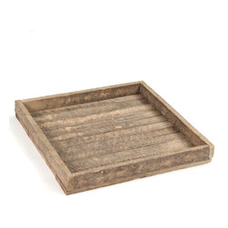 Kathy Kuo Home - Homestead Rustic Lodge Reclaimed Wood Square Tray - One of the best things about this reclaimed wooden tray is that you can carry it without fear- the raised sides won't let anything slide.  Load this workhorse up with plates of nachos and mugs of beer and transport it to your rustic lodge living room to watch the game. Or crudité and quinoa, to watch PBS. Either way, this beaut doesn't judge.