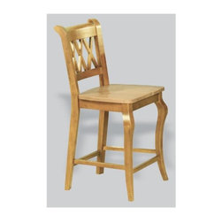 Sunset Trading - 24 in. Eco-Friendly Cafe Chair - Cabernet triple-X back styling and sturdy quality craftsmanship. Bolt together design. Warranty: One year. Made from Malaysian oak. Light oak finish. Made in Thailand. Assembly required. Seat height: 24 in.. Overall: 21 in. W x 18.5 in. D x 40 in. H (24 lbs.)This beautifully designed cafe stool supplied by Sunset Trading will assure you many years of use and enjoyment. Complete your dining decor with this traditional yet stylish cafe chair from the Sunset Trading - Sunset Selections Collection. Its casual charm is versatile enough to complement traditional, country or modern day decor. Perfect for everyday casual dining or entertaining guests at your cafe table or kitchen snack bar. Offering traditional classic beauty and style, yet always dependably functional, your family and friends will enjoy the seating comfort of this inviting cafe chair for years to come! Pair with your choice of coordinating Sunset Selections cafe dining tables (not included) to bring a touch of modern country warmth with traditional and classic American style to your home!