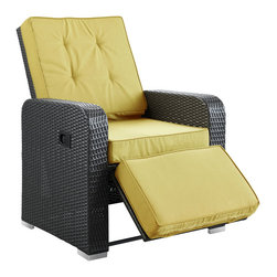 Modway - Modway EEI-985 Commence Patio Armchair Recliner in Espresso Peridot - Kick back and enjoy sunrays and pleasant drifts of wind in the Commence outdoor recliner. While televisions may not be as weather resistant, rest assured that your relaxation time won't be lacking without it. Commence features foam padded all-weather cushions, and a lean back mechanism that keeps you comfortably lounging with ease. Savor your beverage of choice, book or mid-day power nap, and refresh yourself with a synthetic rattan weave outdoor recliner made to your specifications.