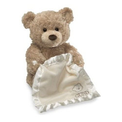 Gund - GUND 11.5-Inch Peek-A-Boo Bear - Little ones will giggle with delight as they play peek-a-boo with this adorable plush bear. Holding a cream-colored blanket, this beige, soft bear will raise and lower his blanket to play a game of peek-a-boo when his foot is pressed.