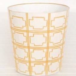 Yellow and Cream Squares Wastebasket - The powder room simply must have a wonderful wastebasket. This fun, sunny one would do the trick.