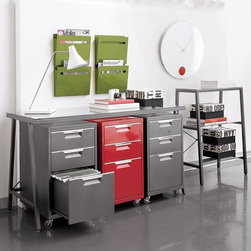 """TPS Red File Cabinet CB2 - I love the clean hardware store tool storage look of these sleek modern file cabinets. They may actually inspire you to stay on top of your filing!Durable steel sheet construction with stainless steel handlesRed powdercoat finishOne letter-legal file drawer; two additional storage drawersFour 2"""" casters; brakes on two front casters15.5""""Wx19.75""""Dx27.25""""H"""
