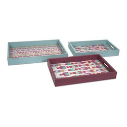 """IMAX CORPORATION - Becerra Wood and Glass Trays - Set of 3 - This colorful collection of three nesting trays feature rich pattern with a subtle Native American influence. Set of 3 trays in varying sizes measuring approximately 2.5-2.5-2.5""""H x 10.25-12-13.5""""W x 17.5-19-20.5"""" each. Shop home furnishings, decor, and accessories from Posh Urban Furnishings. Beautiful, stylish furniture and decor that will brighten your home instantly. Shop modern, traditional, vintage, and world designs."""