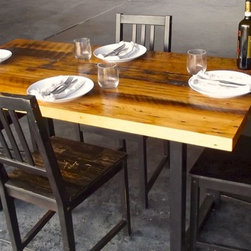 Reclaimed Dining Table - Metal Base - This gorgeous reclaimed oak table is made from wood harvested in first growth forests over a hundred years ago.