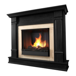 Real Flame - Silverton Ventless Gel Fireplace in Black - Uses clean burning Real Flame gel fuel emitting up to 9,000 BTUs of heat per hour lasting up to 3 hours.. Solid wood and veneered MDF construction.. Fireplace includes wooden mantel, firebox, hand painted cast-concrete log, and screen kit.. Uses Real Flame 13 Oz. gel fuel, not included.. Assembly Required. 48 in. W x 13 in. D x 41 in. H (91 lbs.)Curl up by the comforting glow of this Real Flame fireplace anywhere in your home. Ideal for living rooms, family rooms or bedrooms, the free-standing Silverton offers clean lines and transitional styling that will add instant ambiance to any home.  Uses 13 oz. cans of Real Flame Gel Fuel.