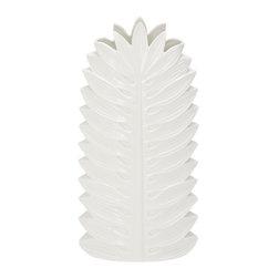 Benzara - Modern and Classic Inspired Style White Ceramic Vase Home Decor - Description: