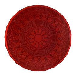 "Traders and Company - Hand-Painted Red Embossed Glass Dinner Plate, 11""D - La Scala - Inspired by the decorative style of the bejeweled mosaics of Byzantine.  These rich colored plates and bowls have been adapted to express the mystic character of the Byzantium Empire. Alternate shapes & styles sold separately. Hand wash only; not for use in dishwasher, microwave, or oven."