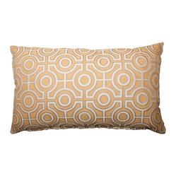 Designer Fluff - Maze Pillow, 18x18 - An ornate circular maze pattern on a soft gold background gives this modern throw pillow a subtle art deco vibe. Neutral enough to combine with a range of other colors and patterns, it's sure to jazz up your style. Each pillow is expertly handmade from authentic designer fabric for an unmistakable quality look.