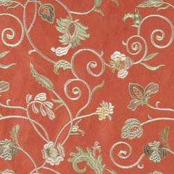 Salmon Green Gold Ivory Embroidered Vines Suede Upholstery Fabric By The Yard - P0321 is a heavy duty upholstery grade suede polyester fabric. This fabric is great for all indoor applications.