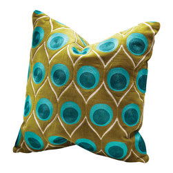 Global Views - Peacock Feather Pillow - This fun pillow adds a bold dash of color to any room