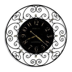 "Howard Miller - Howard Miller - Joline Wall Clock - This elegant and charming wall clock features an ornate framed design. The clock features a cast fleur de lis finished with beautiful gold-tone highlights. Gold Arabic numerals are featured against a black crackled finish on the dial. Delicate scrollwork surrounds the elegant center dial. This is a beautiful choice for any home. * features decorative scroll work and a cast fleur de lis, finished with gold-tone highlightsThe aged, black crackled dial offers gold Arabic numerals and antique gold spade handsQuartz, battery operated movement2 1/4""D. 36"" Diameter"