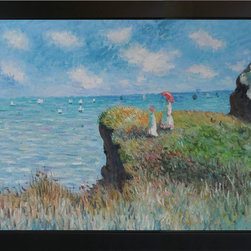"overstockArt.com - Monet - Cliff Walk at Pourville Oil Painting - 24"" x 36"" Oil Painting On Canvas Hand painted oil reproduction of a famous Monet painting, Cliff Walk at Portville. The original masterpiece was created in 1882. Today it has been carefully recreated detail-by-detail, color-by-color to near perfection. Why settle for a print when you can add sophistication to your rooms with a beautiful fine gallery reproduction oil painting? While Monet successfully captured life's reality in many of his works, his aim was to analyze the ever-changing nature of color and light. Known as the classic Impressionist, Monet cannot help but inspire deep admiration for his talent in those who view his work. This work of art has the same emotions and beauty as the original. Why not grace your home with this reproduced masterpiece? It is sure to bring many admirers!"