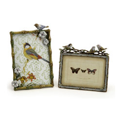Vintage Look Embellished Bird Photo Frames - Set of 2 - *Feather your fancy when displaying your favorite photos in these wonderful jewel tones photo frames adorned with birds and flowers, hold 3x5 and 4x6.
