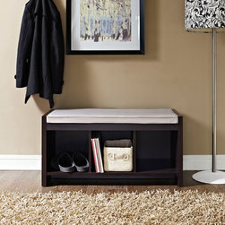 Altra - Altra Storage Bench with Cushion - Add seating and function to any room with this storage bench with cushion. With three cubbies for storage, this bench provides extra seating or a place to put on your shoes. The cushion top ensures comfort no matter how long you're sitting.