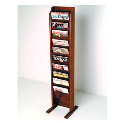 "Wooden Mallet - Free Standing Ten Pocket Magazine Rack - Wooden Mallet's free-standing magazine racks offer versatility and style when displaying magazines in your lobby. Our unique overlapping design neatly displays and organizes magazines and literature, keeping them tidy and visible in the least amount of space. Available in three designer colors to coordinate with any dcor. Features: -Available in light oak, medium oak or dark red mahogany finishes. -Furniture quality construction with solid oak sides sealed in a durable state-of-the-art finish. -Wood finishes perfectly compliment Wooden Mallet's Dakota Wave furniture collections. -Floor stand units are easy to move when rearranging furniture. -Base has stable 12"" oak feet. -Simple assembly only requires a screwdriver to attach feet. -All Wooden Mallet products are warrantied for one year against defects in materials and workmanship. Specifications: -Pocket Dimensions: 8"" H x 9"" W x 0.75"" D. -Rack Dimensions: 49"" H x 10.5"" W x 3.75"" D."