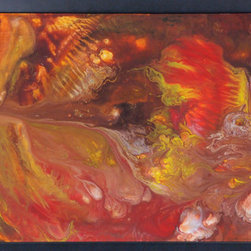 """Combustion Engine (Original) by David Wells - Imagine what it is like to actually """"see"""" the combustion process inside an engine, with the energetic movement of gases and particles swirling together. I attempted to create this feeling with my choice of colors of acrylic paints and inks. Artwork is on canvas and framed."""