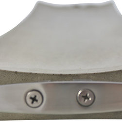 Culinarium - Gray Concrete Simple Tray with Steel Cleat Handle - The prototype for this tray was sculpted by hand from clay and then cast into concrete from the consequent mold.