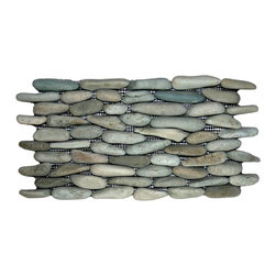 CNK Tile - Sea Green Standing Pebble Tile - Make a striking statement in your bathroom, kitchen or patio with these standing pebble tiles. Carefully chosen for color, size and shape, they bring a unique natural look to your decor.