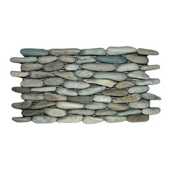 Pebble Tile Shop - Sea Green Standing Pebble Tile - Make a striking statement in your bathroom, kitchen or patio with these standing pebble tiles. Carefully chosen for color, size and shape, they bring a unique natural look to your decor.