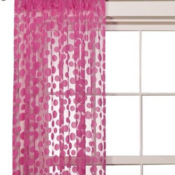 Sheer Flocked Dot Window Panel - Pink - Bring style and beauty into your home with this sheer window panel. It is made from machine washable nylon fabric that cleans quickly. The sheer fabric lets natural light shine through, while the hot pink dotted design adds bright color to the windows.
