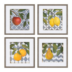 Ballard Designs - Set of Any 2 Motif De Fruits Framed Art - Made in USA. High-quality giclee reproduction. White mat and wood frame. Glass front. Ready to hang. Here's a fun way to incorporate a graphic pattern in your room decor. Colorful assorted fruit is set against a gray-and-white motif, including quatrefoil, chevron, lattice and harlequin. Digitally printed on fine art paper to capture all the color and detail of the originals. Choose any two.Motif De Fruits Framed Art features: . . . . .