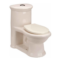Renovators Supply - Toilets Bone Sweet Heart Loo Child-size Toilet 1.25 gpf | 11838 - Child-size Toilets: Child-friendly- stylish one-piece toilet comes in a bone finish. Accepts 12 inch rough-in for easy swap out- includes plastic seat and easy-reach top push-button flush. This juvenile sized toilet matches our Sweet Heart pedestal sink- sold separately. Requires only 1.25 gallons of water per flush rather than the usual 1.6 gallons. Measures 21 1/2 H x 12 in. W x 12 in. rough-in.
