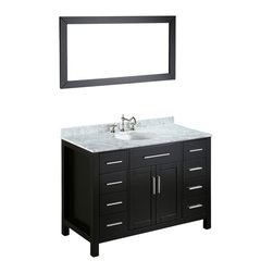 Bosconi - 47'' Bosconi SB-252-3 Vanity Set - If you're a secret toiletries hoarder, this vanity is for you. With silver-tone hardware that complements the white Carrara marble countertop, its black, solid wood frame also ensures lasting durability. Eight drawers and a two-door cabinet offers compartmentalized storage space perfect for storing those must-have bathroom essentials.