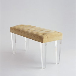 Mercer Bench by Jan Showers - I love the combination of classic tufted upholstery and contemporary lucite legs on this bench from Jan Showers.
