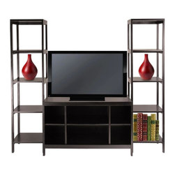 Winsome Wood - Hailey 3 Pc Modular TV Stand & Shelf Set in D - With two side shelves for decorative items, this three-piece TV stand will be a modern, fashion forward addition to your home's decor. Ideal for contemporary, urban spaces, the set features a stand with six open compartments and two open shelving units that will allow you to display decorative items, books and more. Set includes 1 TV stand and 2 tower shelves. Made of solid and composite wood. Assembly required. TV stand: 40 in. W x 18.98 in. D x 24.02 in. H. Tower shelf: 15.04 in. W x 15.04 in. D x 60.43 in. HCreate a entertainment center with this 3-Piece Modular TV Stand and Shelf Set.