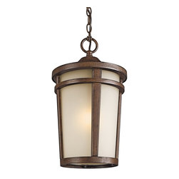 BUILDER - KICHLER 49075BSTFL Atwood Energy Efficient Transitional Outdoor Hanging Light - The simple transitional style of this 1 light fluorescent hanging lantern from the Atwood family is perfect for today's traditional architecture. The subtle tone of the Brownstone finish and Light umber seedy glass coordinate beautifully. Everything about this tapered round lantern from its cast aluminum rings to its stepped canopy make it an ideal complement to your home.